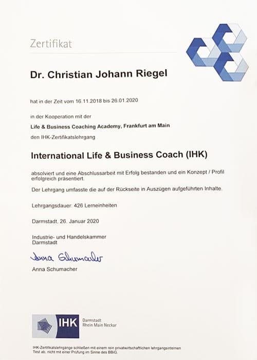 Business Coach Ausbildung Frankfurt Zertifikat IHK